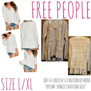 Free People Top Size XL Henley Coastline High Low